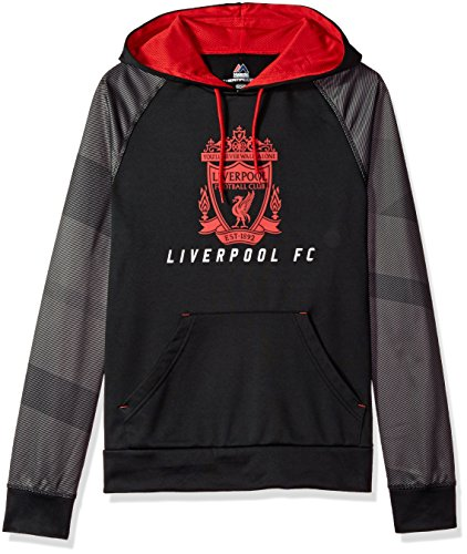 fan products of International Soccer Liverpool Men's Amor II Long Sleeve Hooded Sweater, Black/Athletic Red, X-Large