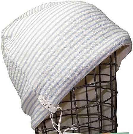 医療用帽子 抗がん剤治療用帽子 オーガニック/ボーダーシャロット サックス/医療帽子 プレジール