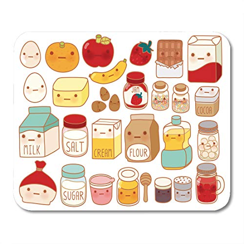 Emvency Mouse Pads Collection of Lovely Cake Ingredient Cute Egg Adorable Milk Sweet Flour Kawaii Strawberry Girly Butter Mouse Pad Mats 9.5