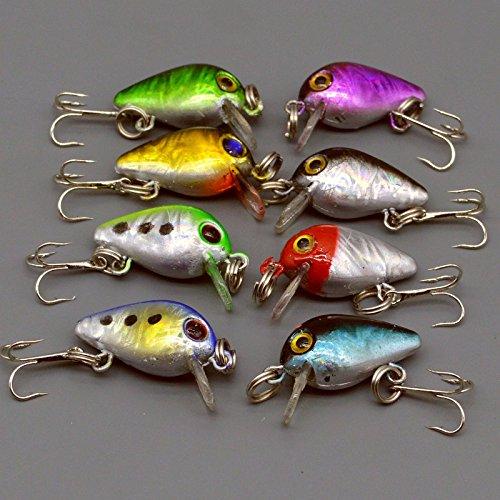 Bulk 16pcs Mini Crank Bait Bass Fishing Lures 2.6cm/1.6g Plastic Baits Tackle