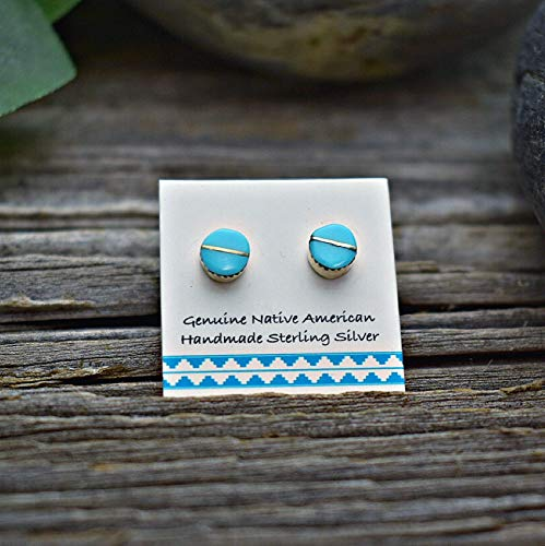 (5mm Genuine Sleeping Beauty Turquoise Inlay Stud Earrings in 925 Sterling Silver, Authentic Navajo Native American, Handmade in the USA, Nickle Free)