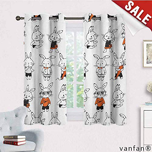 Big datastore 2 Packs Grommet Curtains,Funny,Cute Retro Bunny Rabbits with Costumes Jack Hare Funky Bunnies Carrot Sketch Style,for Living/Bedroom Room/Patio Door,Orange White,W55 Xl63