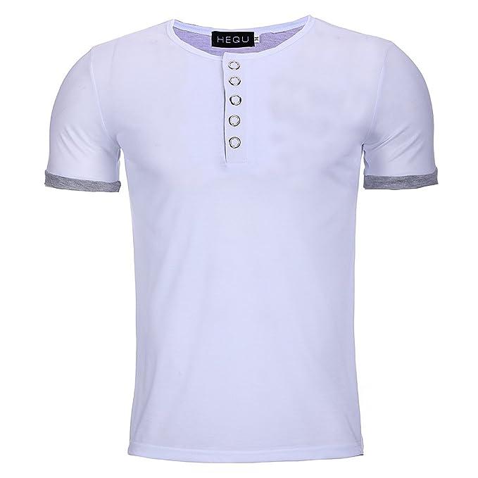 Hombre Camiseta con Manga Corta - Moda Color Sólido Simple Casual Blusa Cuello Redondo Trabajo Fitness Deportes T-Shirts Camiseta Tallas Grandes: Amazon.es: ...