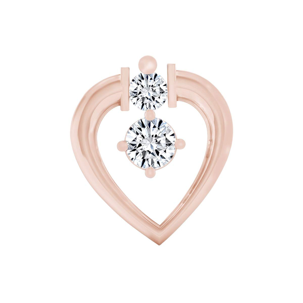 Round Cut Natural Diamond Pear Nosepin 14k Solid Gold