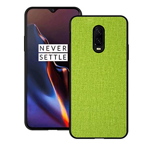 Fabric Back Cover - OnePlus 6TCase CJ Sunshine OnePlus 6T Mobile Phone Shell with Fabric Back Cover All-Inclusive Shatter-Resistant Hard Shell Silicone Soft Edge Case(Green)