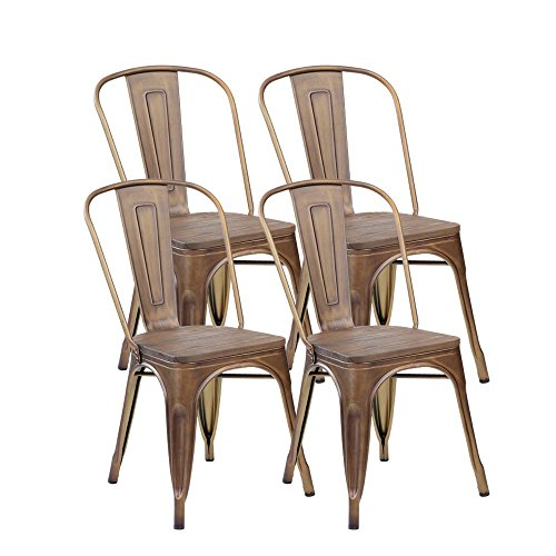 eurosports Tolix Style Chair 3004PB-AC-4 Metal Stackable Kitchen Handmade Wood seat Dining Chairs with Back, Set of 4 Antique Copper