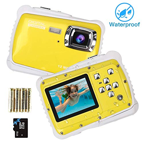 Kndio Kids Camera,Waterproof Camera for Kids Underwater Action Camera Camcorder with 12MP HD 8X Digital Zoom Flash Mic 2.0 Inch LCD Display with 8G SD Card 3 Non-Rechargeable Batteries Included