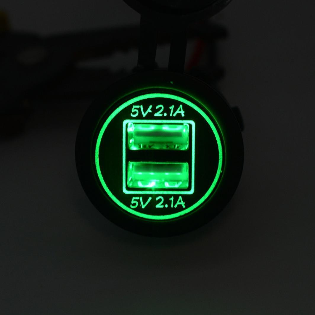 HKFV 5 V 4.2A Dual USB Ladeger/ät Buchse Adapter Steckdose f/ür 12 V 24 V Motorrad Auto WUPP CS-526A3 4.2A mit Doppel-USB-Auto-Ladeger/ät Rot