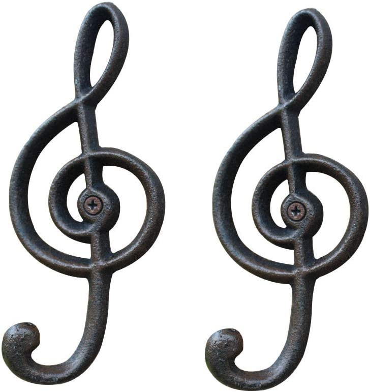 "Haidong 2 Pack Music Note Wall Hooks Retro Cast Iron Note Hook Kitchen Hook Wall Hanging Wall Hanging Clothes and Caps Hook 6.3""X2.75"""