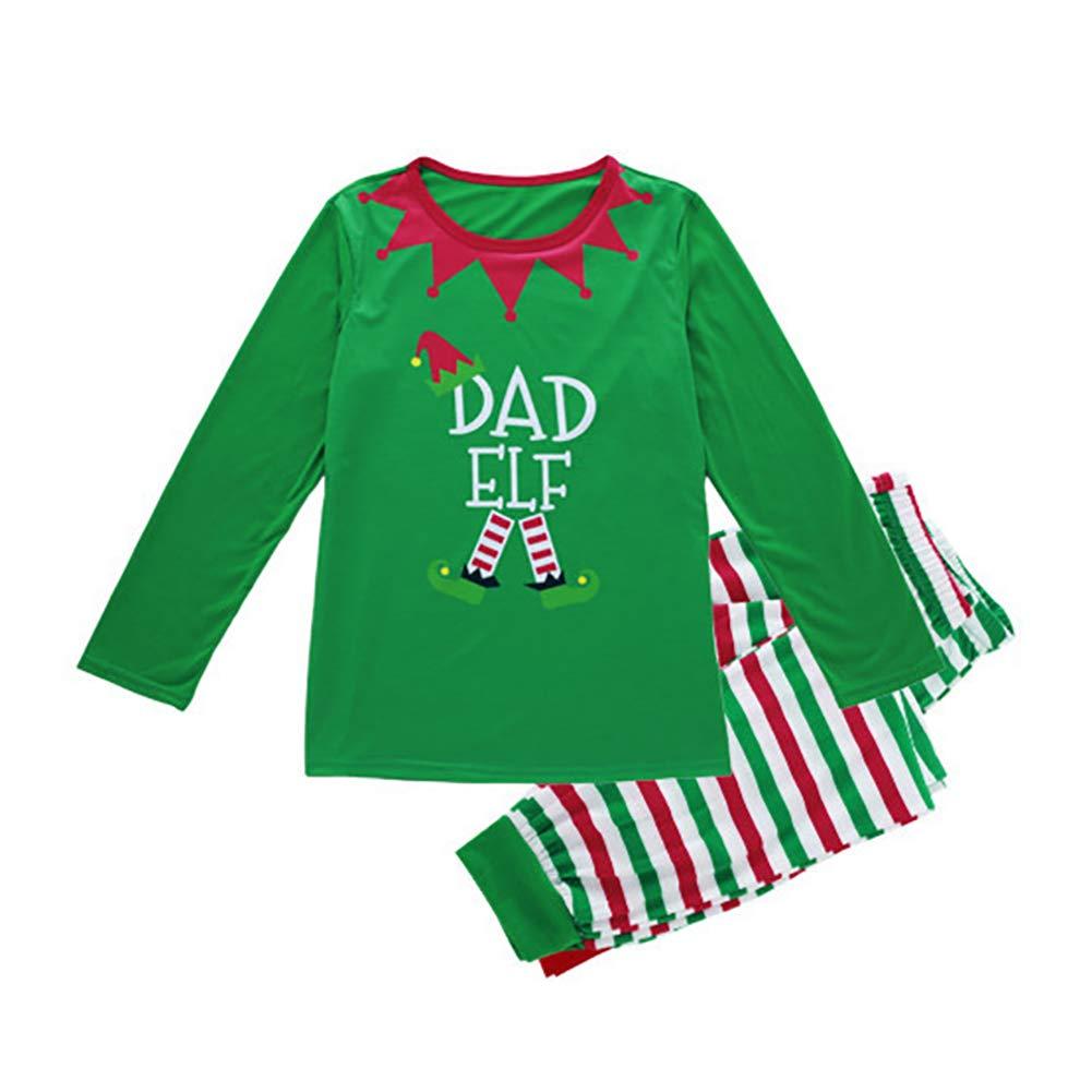 pu ran Family Matching Baby Kid Mom Dad Christmas Elf Pajamas Set Xmas Sleepwear Nightwear