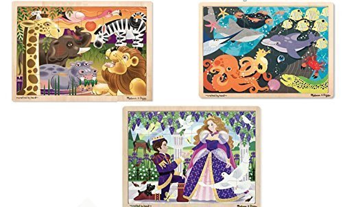 Melissa and Doug Wooden Jigsaw Puzzle 24 pcs Bundle set age 3 and up / 1- African Plains, 1 - Princess, and 1 - Under the sea (3 puzzle Set)