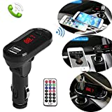 Bluetooth FM Transmitter,Sandistore Wireless in-Car FM Transmitter Radio Adapter Car Kit, Universal Car Charger with USB Charging Ports, MP3 Player Hands Free Calling for All Smartphones (Black)