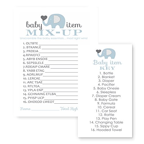 Blue Elephant Baby Shower Game Word Scramble (25 Pack) for $<!--$10.99-->