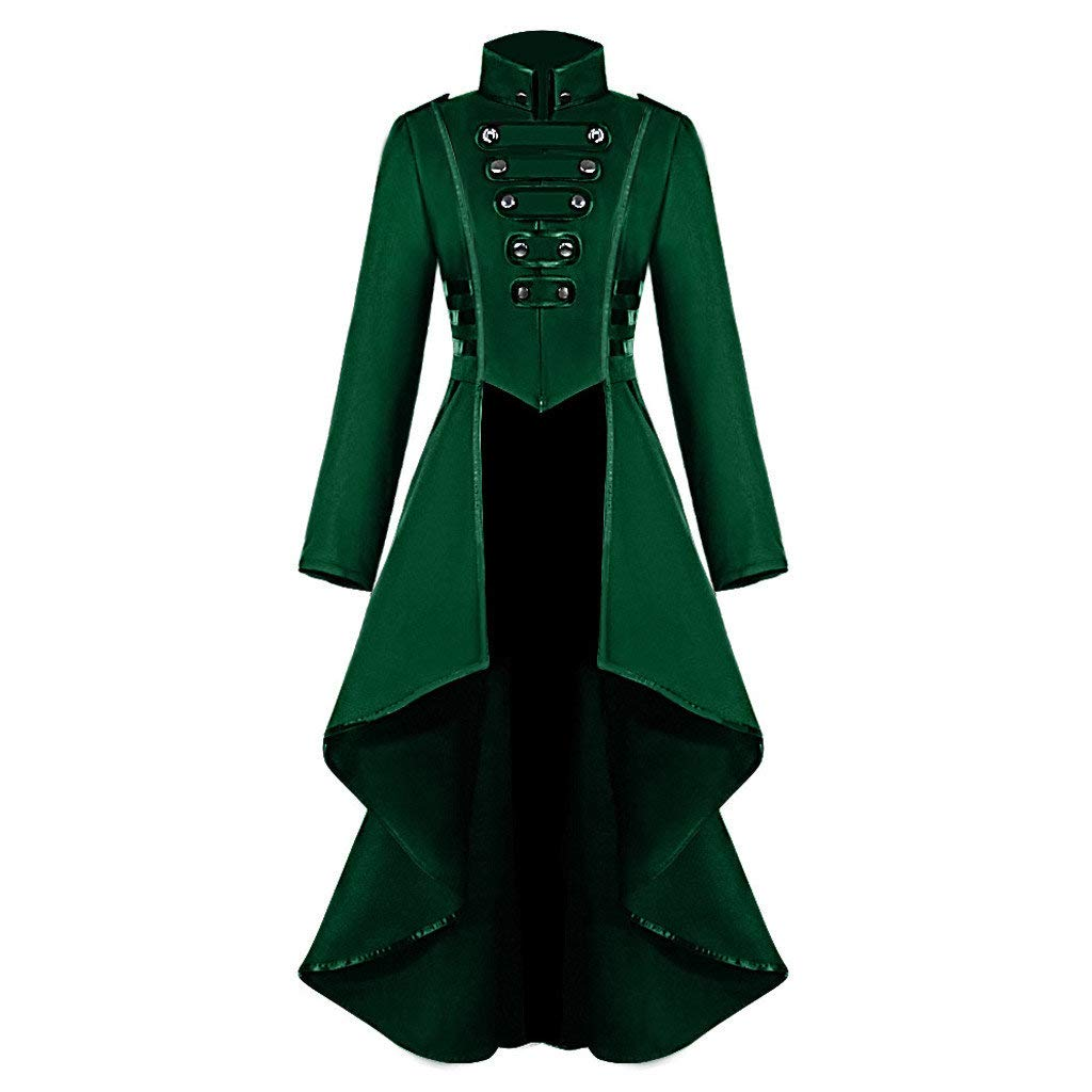 Innerternet Womens Fashion Gothic Steampunk Button Lace Corset Halloween Costume Coat Tailcoat Solid Jacket