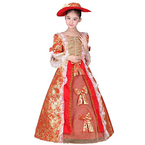 KUFEIUP Renaissance Medieval Gothic Victorian Palace Costume Layered Dress For Girls