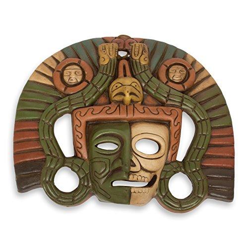 Ceramic Wall Mask (NOVICA Decorative Ceramic Wall Mask, Brown Tan and Green, 'Aztec Duality')