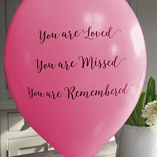ANGEL & DOVE 25 Bright Pink 'You are Loved, Missed, Remembered' Biodegradable Funeral Remembrance Balloons - for Memory Table, Memorial, Condolence, Anniversary by