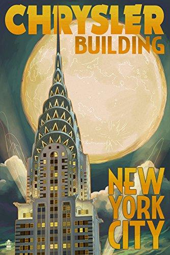 New York - Chrysler Building and Full Moon (9x12 Art Print, Wall Decor Travel Poster)