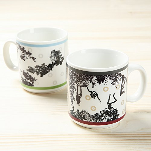 11-Ounce Magic Ceramic Hot Heat Sensitive Mug Collectible Chinese Porcelain Morphing Tea Coffee Beverage Cup Oriental Monkey Pattern Artwork Color Changing Drinkware Gift Set for Men Women, Set of 2