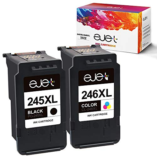 ejet Manufactured Ink Cartridge Replacement for Canon 245XL 246XL PG-245XL CL-246XL 245 XL 246 XL to use with PIXMA MX492 MG3020 MG2522 MG2525 MG2920 MG2922 TS3120 TS202 TS302 Printer (2 Pack) (Canon Ink Cartridges Pixma)