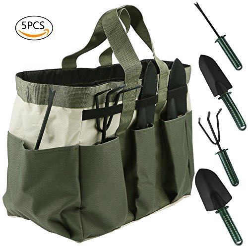BlueStraw 5 Pieces Garden Tool Set Gardening Gifts Tools Including Rake, Weeder, Transplanter,Trowel, Garden Tote Heavy Duty Heads with Ergonomic Handles for Easy Fun Gardening