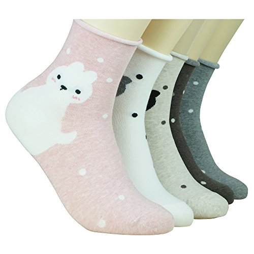 WiLLBee Cute Cartoon Animation Character Casual Gift Socks for Women Girl Boy Kids (Cat 5 Set) (Woven Socks Kids)