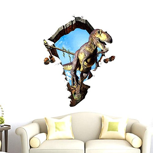 Nufelans 3D Dinosaur DIY Wall Stickers Decal PVC Removable Art Murals for Kids Boys Room TV Background Stick & Peel Gifts 50cmX50cm (C,23.635.4