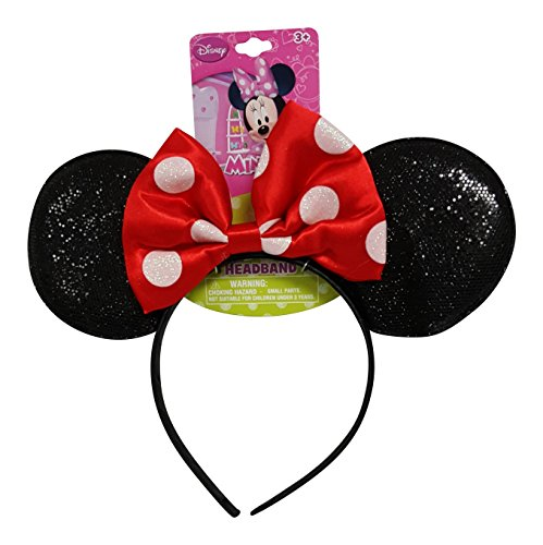 Minnie Mouse Costumes Teens (Genuine UPD Minnie Mouse Sparkled Ear Shaped Headband with Red Bow Disney Official Licensed (1 piece))