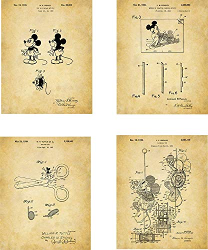 Mickey Mouse Cartoon Patent Wall Art Prints - set of Four (8x10) Unframed - wall art decor for Mickey lovers