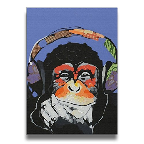 Modern Gorilla Monkey Music Solid Wood Borderless Frame Pictures Frames Decorations 1620 Inch (Music Phantom The Box Opera Monkey Of)