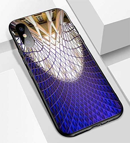 iPhone X/XS Ultra-Thin Glass Back Phone case,Architecture at Kings Cross Train Station in London Soft and Easy to Protect The Protective case
