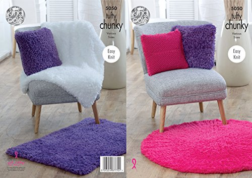 Easy Knit Blanket (King Cole Tufty Chunky Knitting Pattern Easy Knit Blankets Cushions & Rugs (5050))