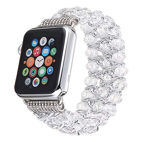 BASETOBUY Apple Watch Band 38mm 42mm,Elastic Handmade Crystal Bracelet Jewelry Replacement Strap Women Girl for iWatch Apple Watch Series 3/2/1 (Beaded Watch Bracelet)