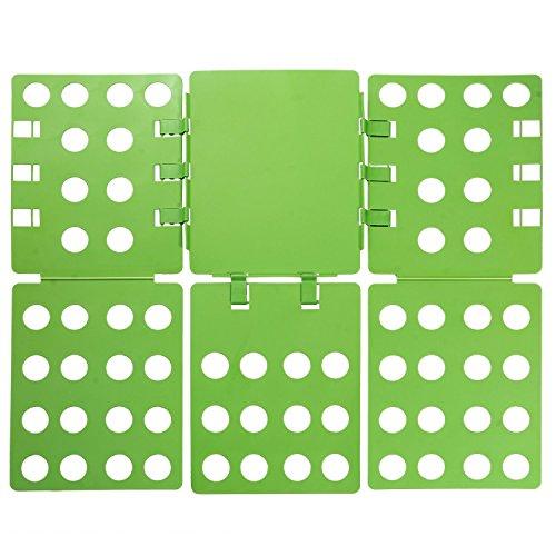 Ollieroo 3 Steps Plastic T-shirt Folder Clothes Fold Board Thickness Adjustable Laundry Folding Board (Green) (Laundry Clothes Folder)