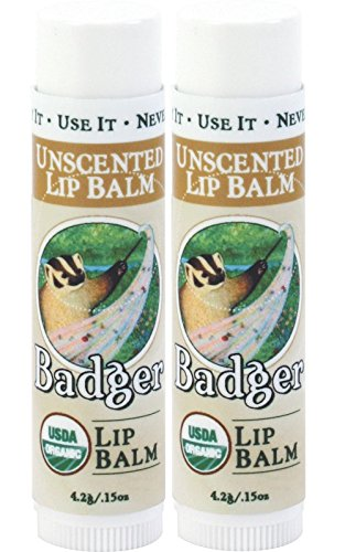 Badger Lip Balm (Badger Unscented Classic Lip Balm - 0.15oz Stick (2 Pack))