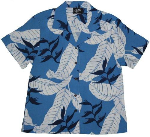 Women's Ginger Heliconia Jungle Hawaiian Aloha Rayon Shirt in Blue - S