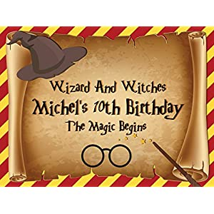 Custom Home Decor Wizard Hat, Wand and Eyeglasses Birthday Poster for Kids - Size 24x36, 48x24, 48x36; Personalized Magician Birthday Banner Wall Décor, Handmade Party Supply Poster Print