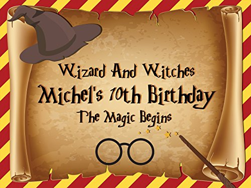 Custom Home Decor Wizard Hat, Wand and Eyeglasses Birthday Poster for Kids - Size 24x36, 48x24, 48x36; Personalized Magician Birthday Banner Wall Décor, Handmade Party Supply Poster - Eyeglasses For Guys