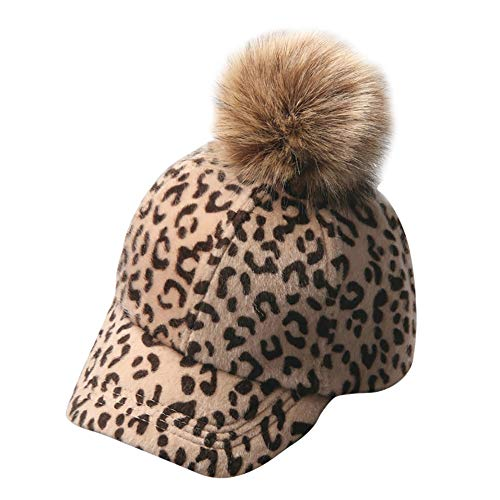(Fashion Baseball Hat with Pom, Cute Baby Girls Leopard Printed Hats Winter Warm Hat Caps (Khaki,Free Size))