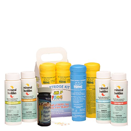 Spa Frog Cartridge Kit Refill - Hot Tub Spa Care Water Treatment for use with Spa Frog in-Line Sanitizing or Spa Frog Floating System - Mineral Buddies Spa Care Included - Free Test Strips Included