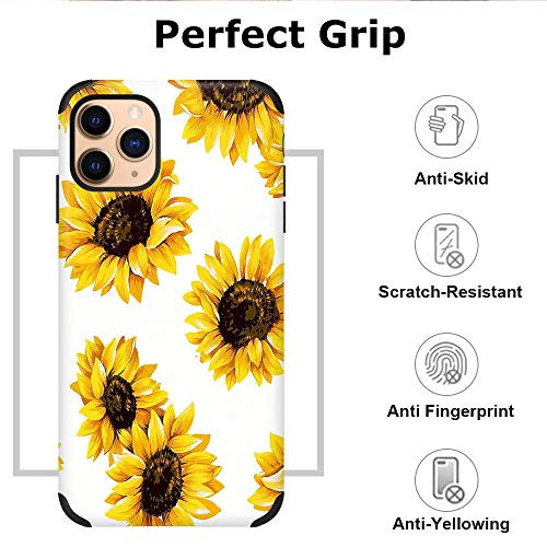CUSTYPE Case for iPhone 11 Pro Max Case, iPhone 11 Pro Max Case Floral Sunflower Flower Design Girls Women Leather Bumper Soft Flexible TPU Shockproof Protective Cover for iPhone 11 Pro Max 6.5''