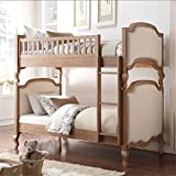 Cheap Acme Furniture 37650 Charlton Twin Over Twin Bunk Bed, Twin/Twin, Cream Linen & Salvage Oak