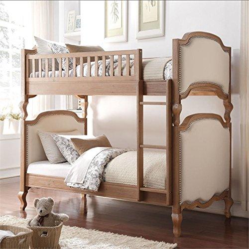 ACME Furniture 37650 Charlton Twin over Twin Bunk Bed, Twin/Twin, Cream Linen & Salvage Oak