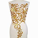 Noble Pure Handmade Beaded Crystal AB Color patches Sew on Rhinestones with Stones Sequins Beads Applique Designs Patches Sewing for DIY Wedding Dress Trim 30x60cm (Yellow)