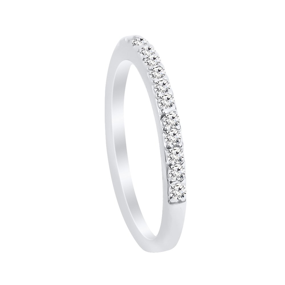 Sterling Silver Cubic Zirconia Half Eternity Band Ring - 5