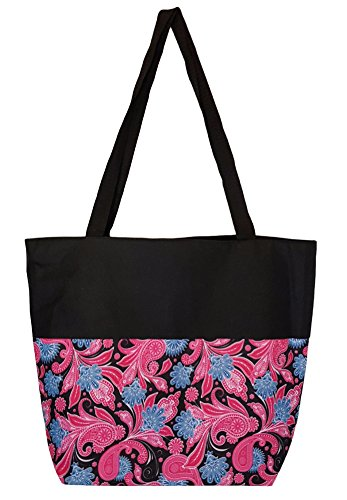High Fashion Print Lined Zippered Tote with Interior Zippered Pocket (17 x 14 x 6, Pink / Black Paisley - Black Trim) (Custom Tote compare prices)