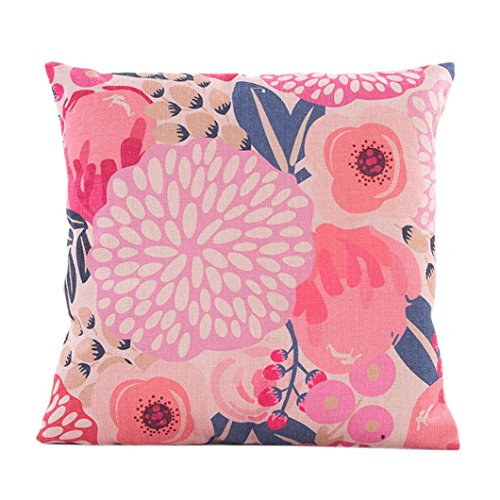 TOOPOOT Flowers Grass Pattern Throw Pillow Case PillowCase (pink)