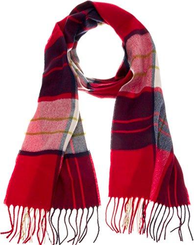 Cashmere Plaid Scarf (SilverHooks Soft & Warm Plaid Cashmere Scarf w/Gift Box (Red & Blue Plaid))