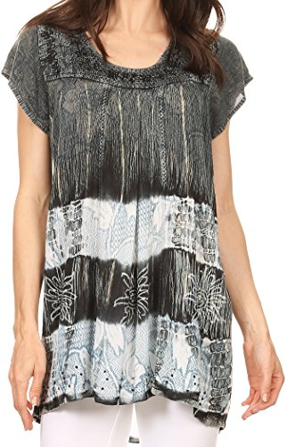 Sakkas S-4-85100 - Layleka Long Tie Dye Ombre Batik Embroidered Sequin Beaded Shirt Blouse Top - Black - OS ()