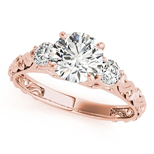 MauliJewels 1/2 Carat Halo Engagement Diamond Ring Crafted in 14k Rose Gold Ring Size - 6